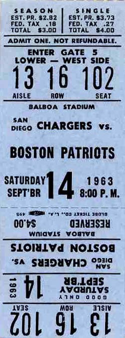 3895: Football Boston Patriots San Diego Chargers AFL T