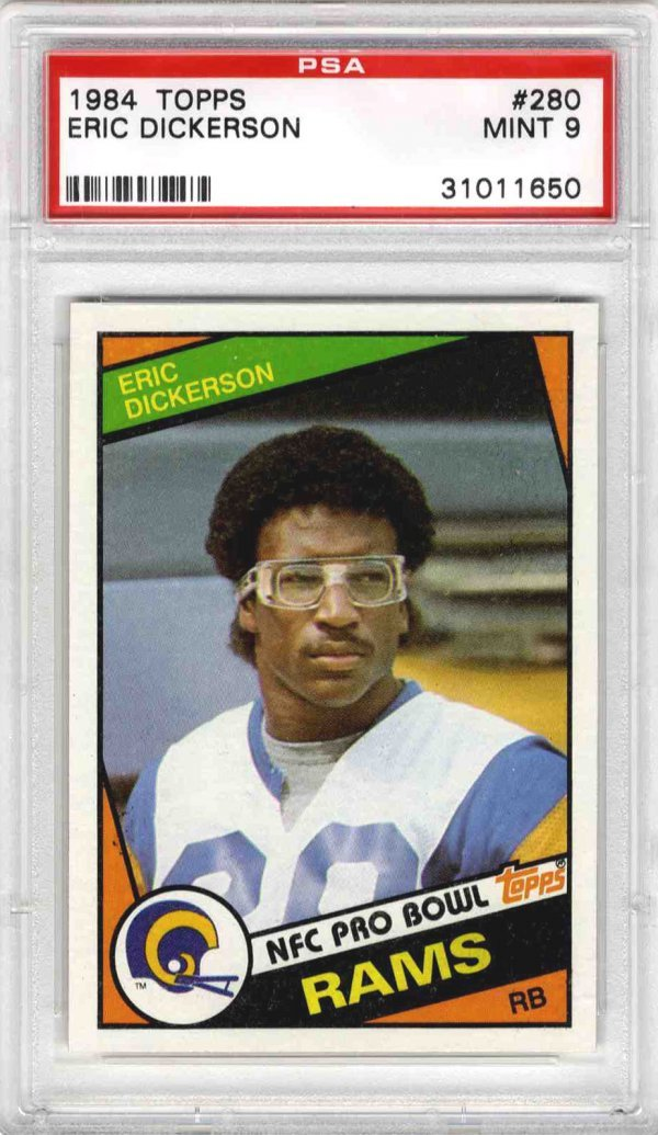 3896: Football Rare Eric Dickerson Rams Topps Rookie Ca