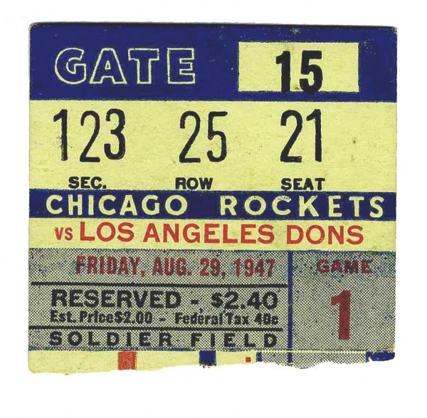 3897: Los Angeles Dons Chicago Rockets AAFC Ticket