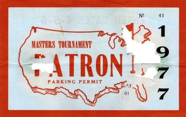 4407: Masters Golf Tournament Parking Permit Tom Watson