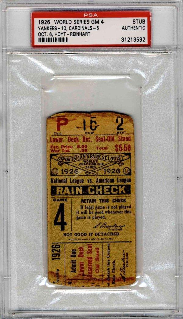 4515: Babe Ruth World Series Ticket Yankees Homerun Rar
