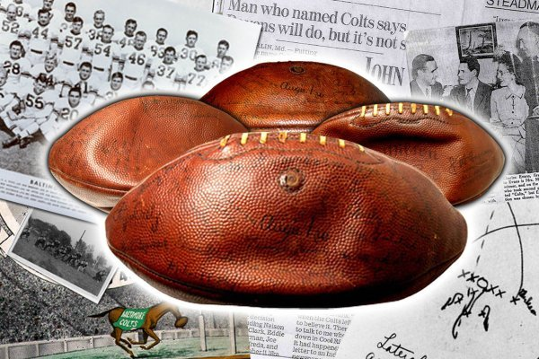 1: Baltimore Colts AAFC Football Signed First Game Ball