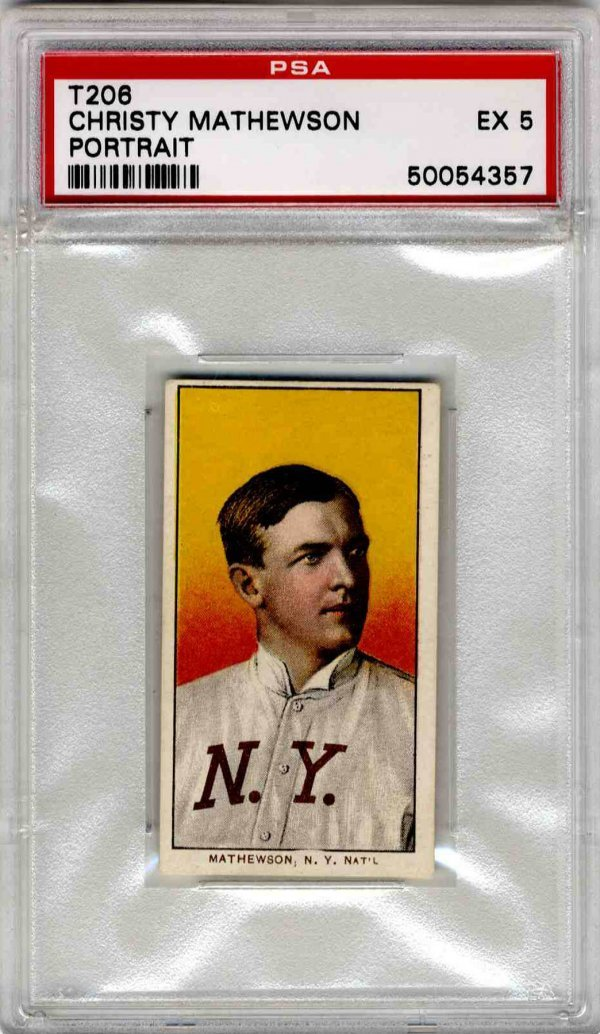 2: Baseball Card 1911 Christy Mathewson T206 NY PSA 5