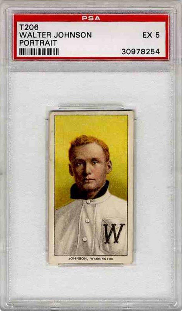 4: Baseball Card Walter Johnson PSA 5 T206 1909