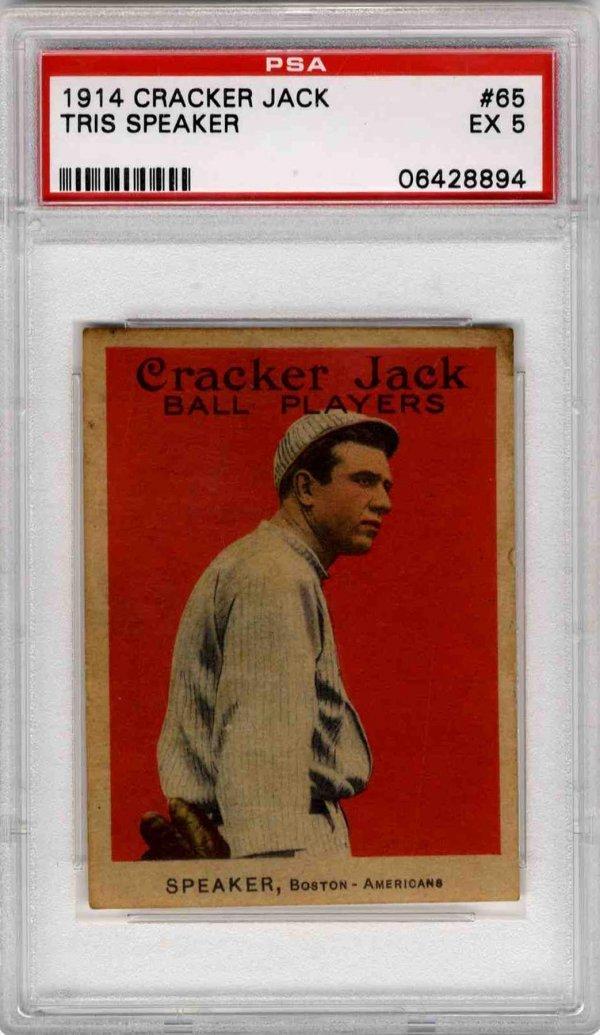 1914 Cracker Jack Card Tristram Speaker PSA 5 Baseball