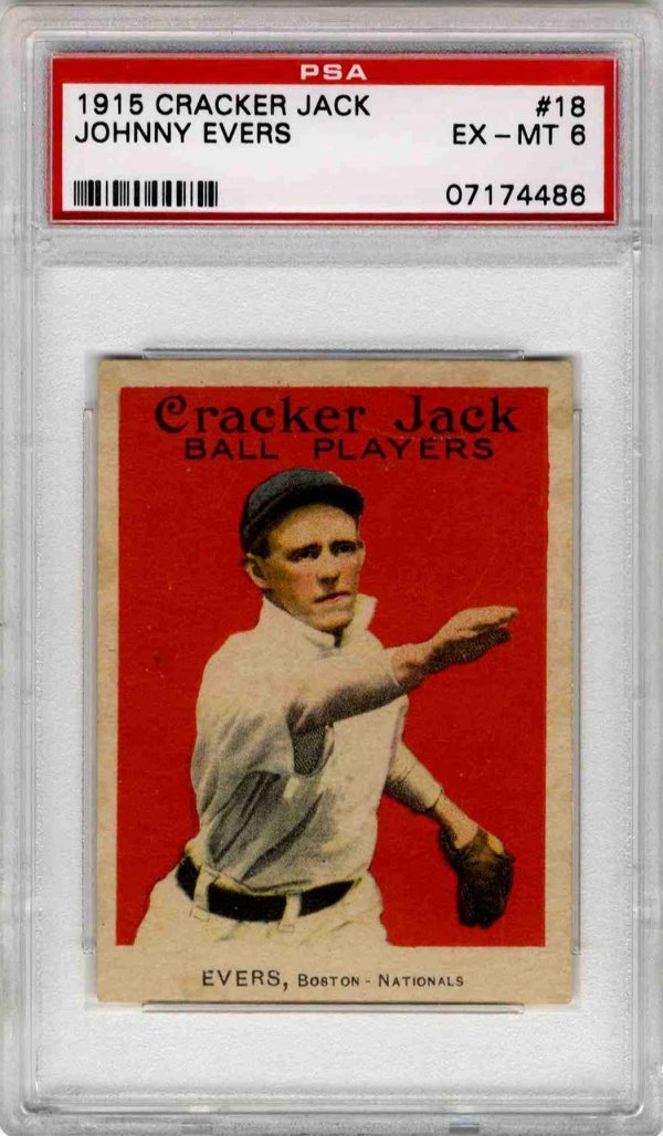 9: Baseball Card Johnny Evers 1915 Cracker Jack PSA 6