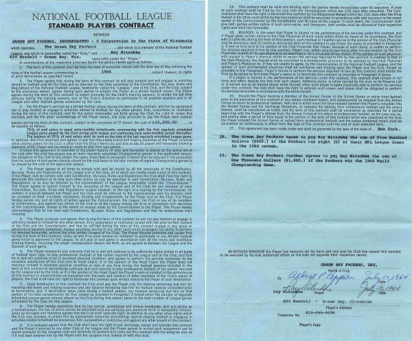 13: Ray Nitschke Signed Contract Green Bay Packers NFL