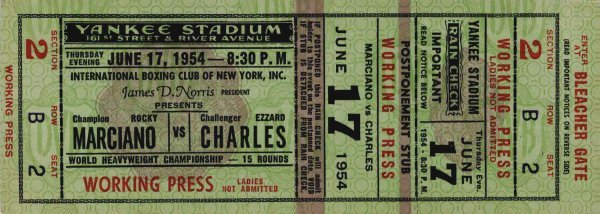 19: Rocky Marciano Ezzard Charles Ticket Boxing Rare Sp