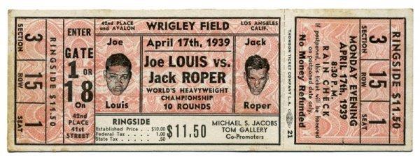 23: Boxing Championship Ticket Joe Louis Jack Roper 193