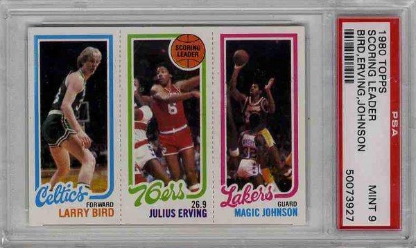 24: 1980 Topps Card Larry Bird Dr J Magic Johnson PSA 9