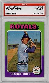 55: 1975 Topps Baseball Card George Brett PSA 9 Rookie