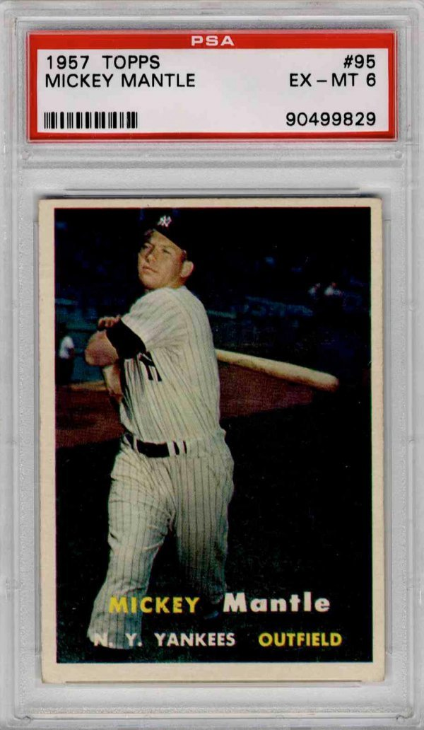 90:Baseball Card Mickey Mantle 1957 Yankees PSA 6 Topps