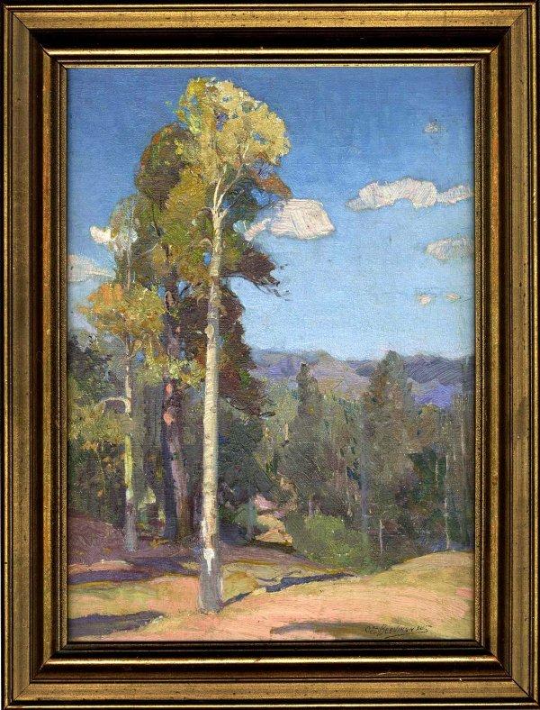 401: Oscar Berninghaus Oil Board Painting Late 1800