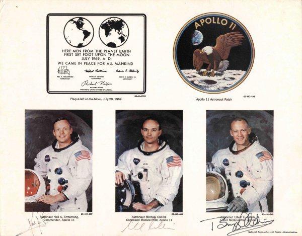 409: NASA Apollo 11 Crew Signed Neil Armstrong Photo