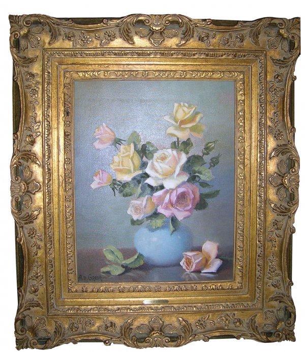 412: Painting Art AD Greer Texas Impressionism Flowers