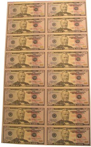 416: Uncut Sheet Fifty Dollar Federal Reserve Notes Mon