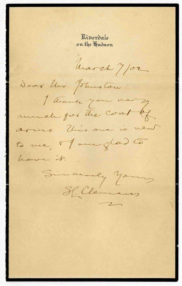 419: Signed Letter Samuel Clemens Mark Twain ALS Autogr