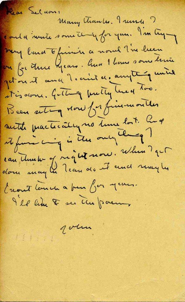 420: John Steinbeck ALS Grapes Wrath 1938 Signed Letter