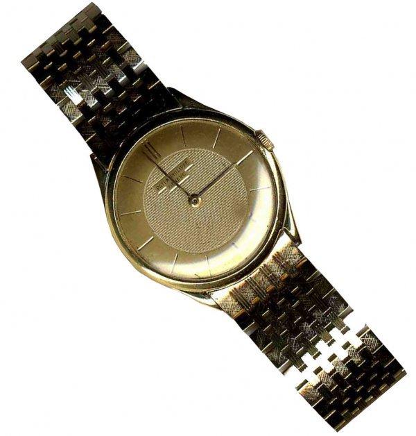 884: Patek Philippe Gold Wrist Watch Geneva Steel 1953