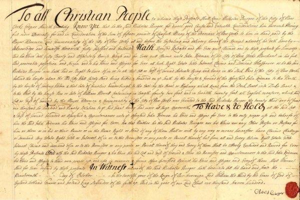 892: Huge Signed Document 1700 New York Land Deed Rare