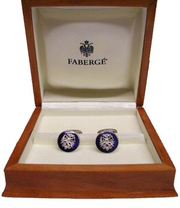 894: Faberge Cufflinks White Gold Blue Enamel Rare Jewe