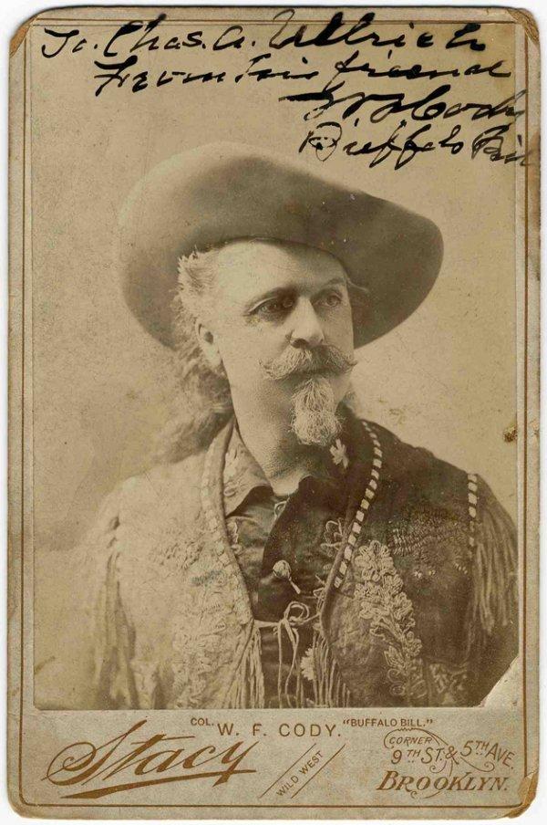 900: Cabinet Card Buffalo Bill Cody Photo Pic Signed Si