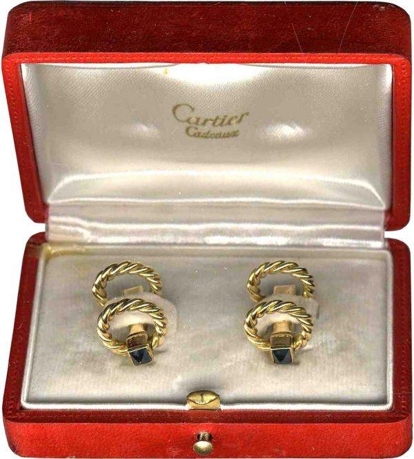 902: Cufflinks Cartier French Gold 1920 Sapphire Jewelr