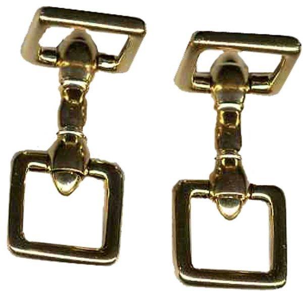 904: Cufflinks Cartier Square Stirrup-Style 14K Gold Je