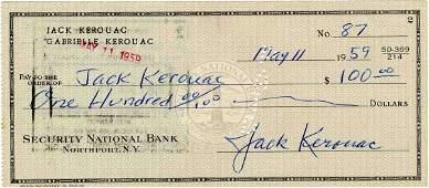 1001 Jack Kerouac Signed Check Autograph Signature Sig