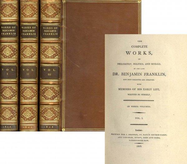 1312 1806 Rare Book Benjamin Franklin First Edition Vol