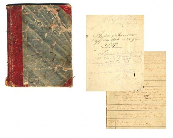 1313: 1837 Book Logbook New York Firefighter Register