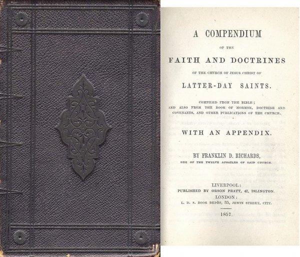 1315: Book Mormon LDS 1857 Compendium Latter-Day Saints