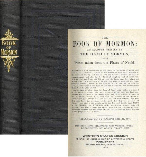 1316: Book Mormon 1905 Rare LDS Joseph Smith Fine Latte