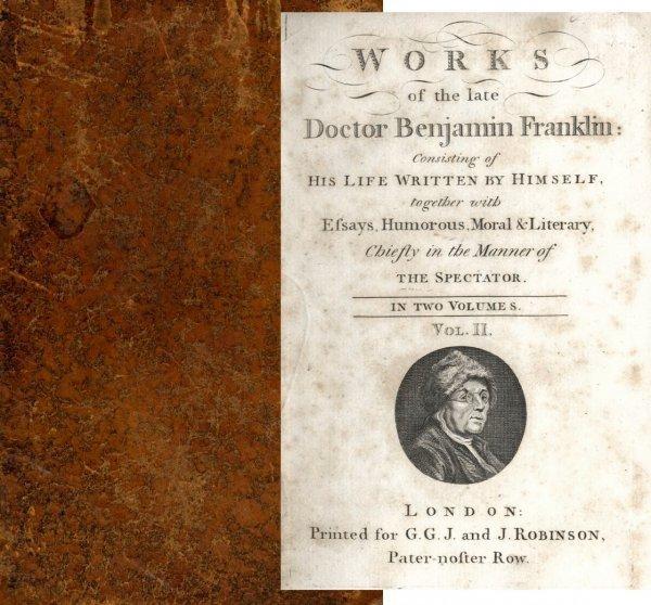 1326: Book Volume Works Doctor Benjamin Franklin 1793 R