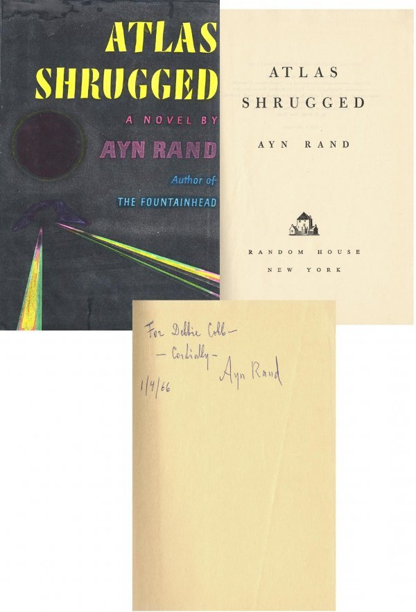1621: Book Ayn Rand Signed First 1st Edition Atlas Shru