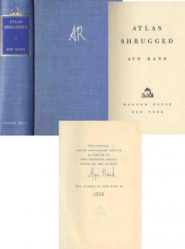 1622: Book Ayn Rand Atlas Shrugged Limited Edition Sign