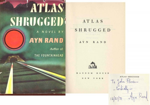 1623: Book Ayn Rand Signed First Edition Atlas Shrugged