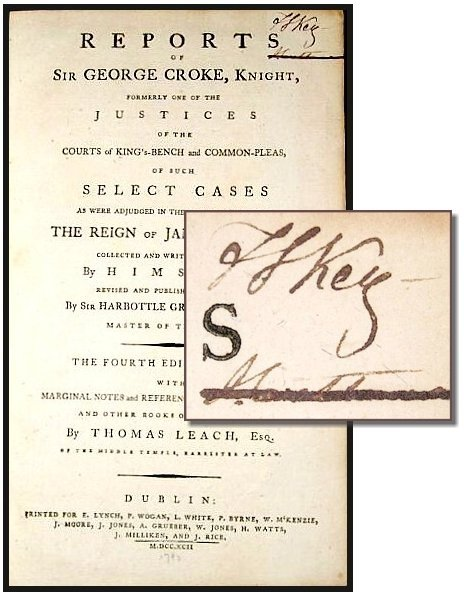 1624: Book Signed Francis Scott Key Reports George Crok