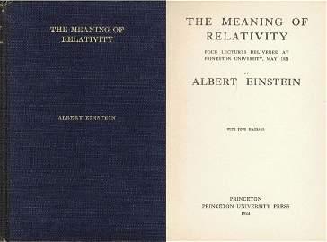 1827: Albert Einstein Meaning Relativity Lectures Book