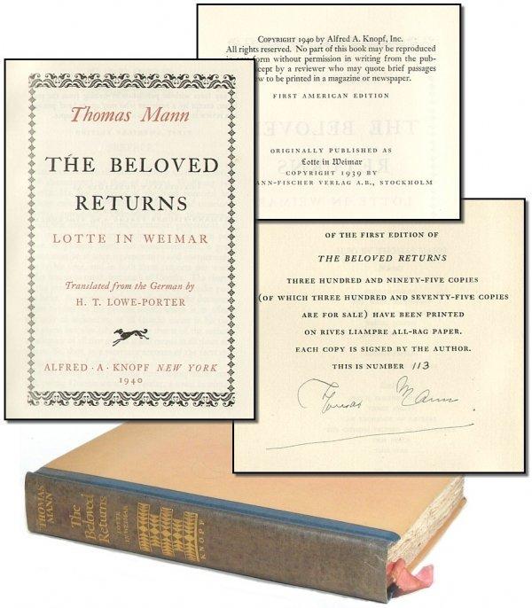 1851: Signed Thomas Mann Beloved Returns 1940 Book