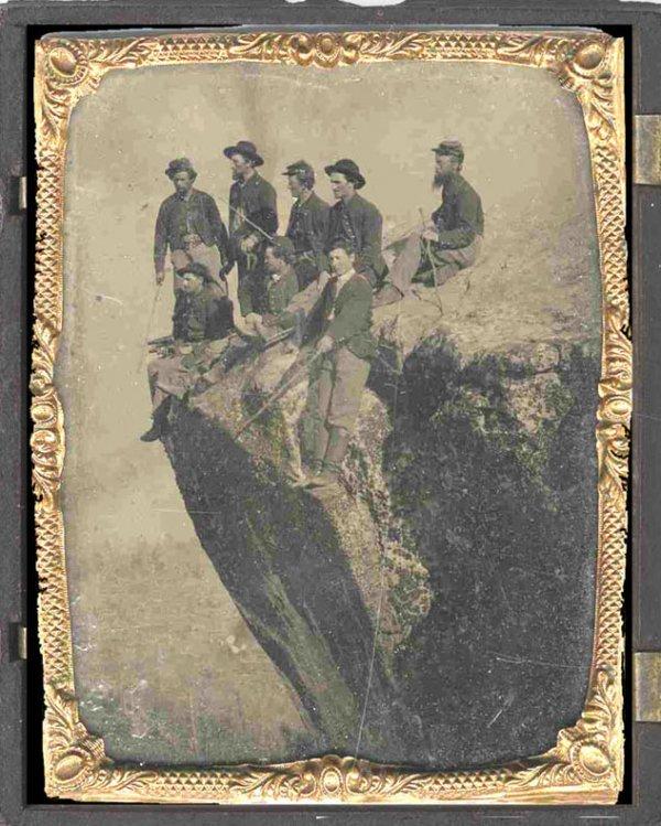 1904: Civil War Soldier Outdoor Tintype Group Union Qua