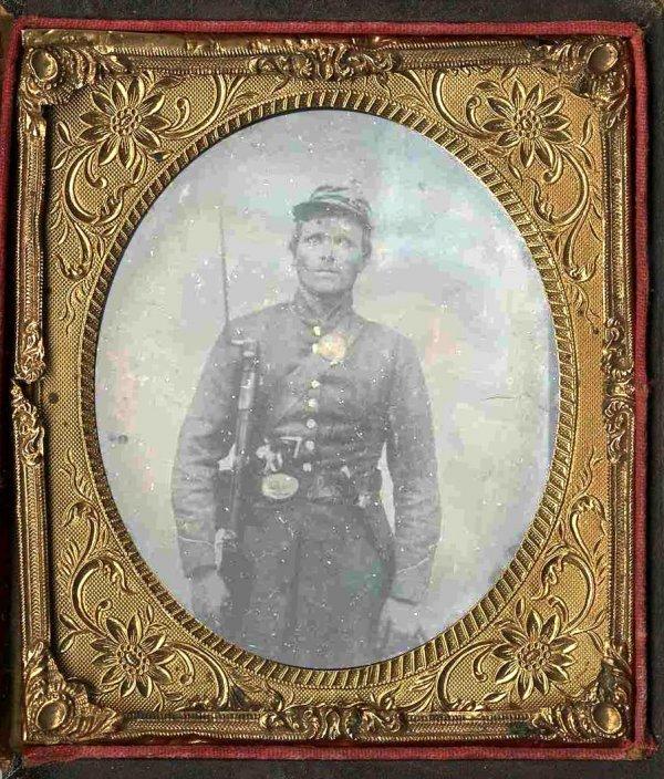 1919: Civil War Soldier Tintype Triple Armed Pistol Kni