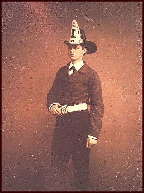 1922: Fireman Tintype Uniform Tin Photo Washington 1870