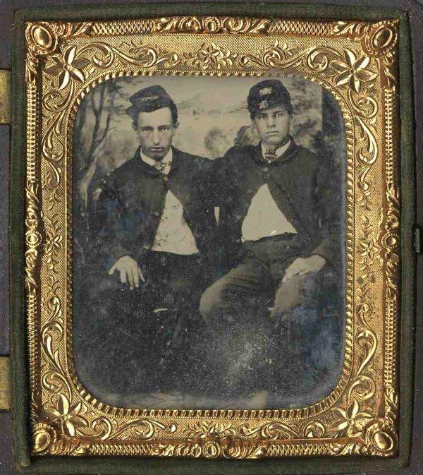 1924: Civil War Soldier Ambrotype Union Group Uniform P