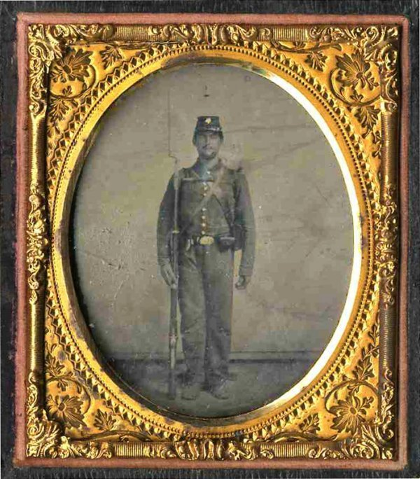 1927: Civil War Soldier Tintype Tin Armed Musket Photo