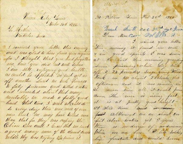 2236: Civil War Soldier Iowa 32nd Infantry Signed Lette