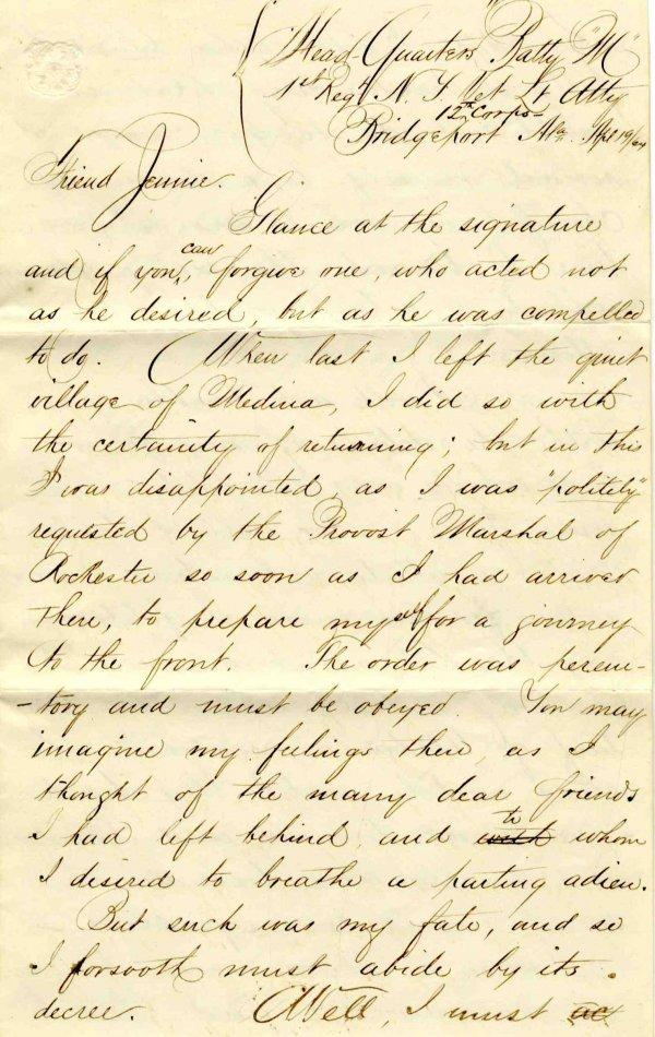 2246: Civil War Soldier NY 1st Artillery Signed Letter