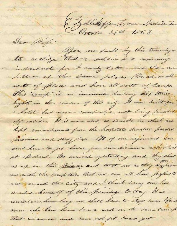 2251: Civil War Soldier Wisconsin 1st Cavalry Letter 18