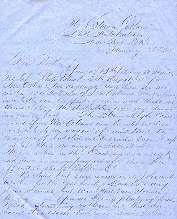 2252: Civil War Soldier USS Calhoon ALS 1864 Paymaster