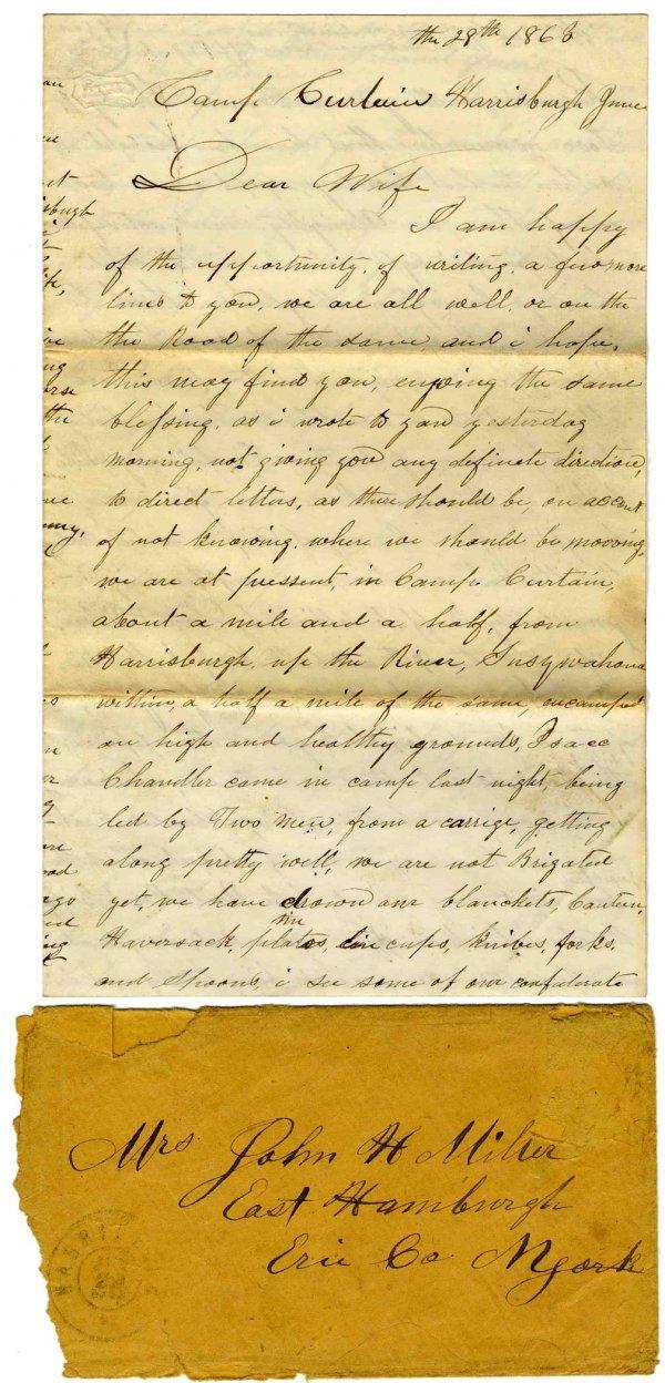 2263: Civil War Soldier NY 67th Infantry Signed Letter